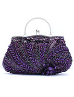 Wholesale Gorgeous Beaded Peacock Woman s Evening Bag u8 Gc