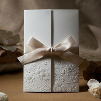Wholesale Vintage Embossed Flower Wedding Invitations Cards in Ivory With Ribbon Customized and Printing Retail amp