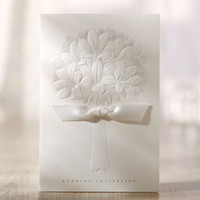 Wholesale BH3201 Gorgeous Embossed Flower Design Wedding Invitations Cards in White With Bow Customized amp Printing