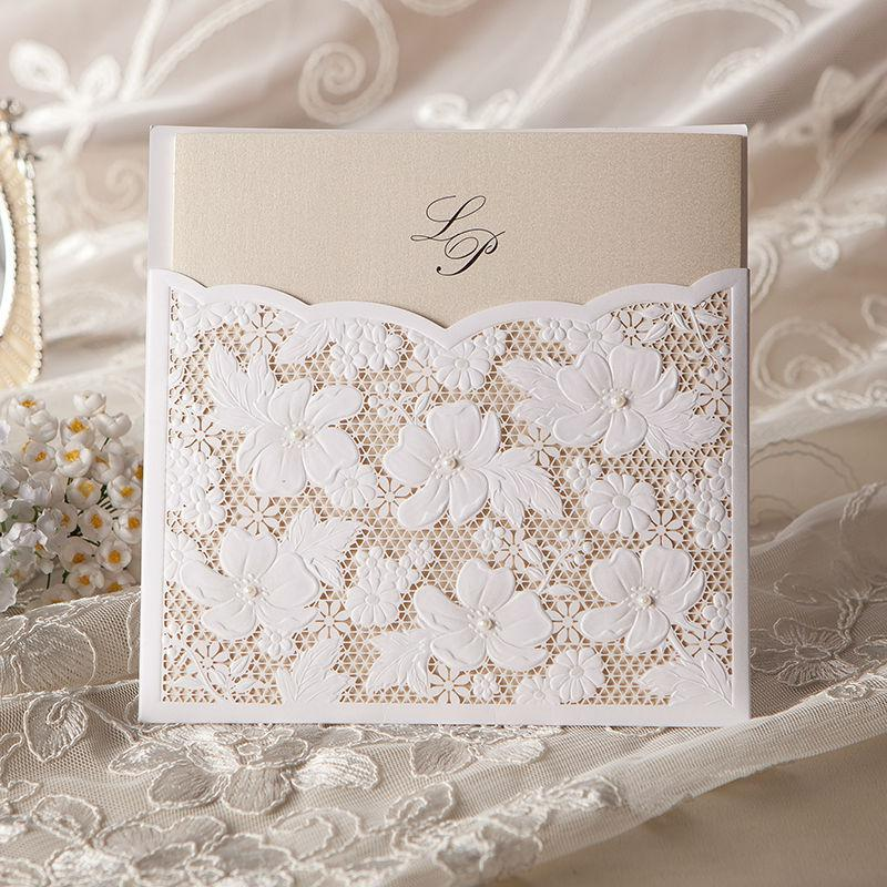 W1101 Vintage &Amp; Elegant Lace Cutout Wedding Invitations Cards ...