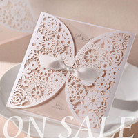 Wholesale BH2065 Gorgeous Vintage Lace Flower Cutout Wedding Invitations Cards With Bow in White Customizing and Printing Set of Retail