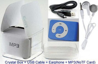 Wholesale Sport Mini C Clip Digital Cross MP3 USB Music Sports Clip Player DHL NOTICE Here Piece MP3 USB Cable Earphone Box
