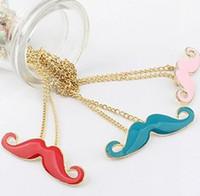 Unisex best moustaches - Best Selling Vintage Mix color Beard Cosplay Moustache Pendant Necklaces Black Alloy gold tone Chain Necklace
