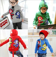 Wholesale Baby s dinosaur hoodies cute kid s wear children unisex sweaters baby s green sweatsuits