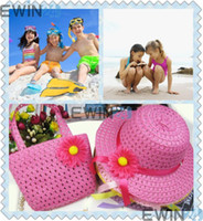 Girl Summer Crochet Hats Fashion Crochet Hats Summer Beach Sun Floral Hat Straw Cap With Hand Bag For Girl Kids Children Free shipping 200pcs lots