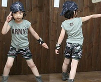 3-8y unisex Summer Children Unisex ARMY Green Short Sleeve Shirt + Camouflage Printed Short Pants 2pcs Outfits Boys Girls Novelty Set B0423