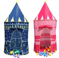 Wholesale 15pcs Cute Palace Castle Prince and Princess Children Playing Toy Tent blue and pink colors mixed Indoor Outdoor