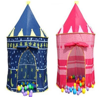 Wholesale 1pcs Prince and Princess Palace Castle Playing Indoor Outdoor Toy Tent blue and pink colors mixed