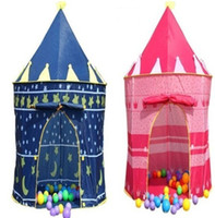 Wholesale Prince and Princess Palace Castle Playing Indoor Outdoor Toy Tent blue and pink colors mixed