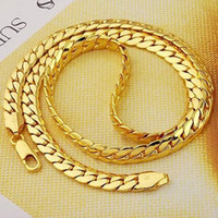 Wholesale stylish simplicity quot mm wide k gold men jewelry necklace snake chain real gold not solid not money