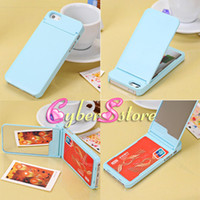 Plastic For Apple iPhone Yes 100pcs Fashion Korea design Credit Card Mirror flip inside Hard Plastic Case Cover For iphone 5 5G,With retail Package