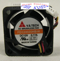 Wholesale New Y S Tech FD124020HB H V A CM cooling fan wire dual ball bearing fan U server