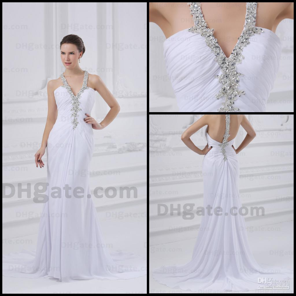 White wedding dresses sheath halter top ruched chiffon for Wedding dress halter top
