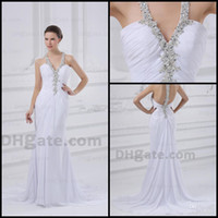 Wholesale White Wedding Dresses Sheath Halter Top Ruched Chiffon Applique Beaded Bridal Gown Actual Images