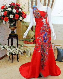 Best Design!! Exquisite Sparkle Red Peacock Strapless Sheath Crystal Custom Made Satin Floor Length New Evening Dresses