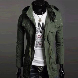 Wholesale Business Casual Cotton Trench Coats Hooded Long Coat Men s Frock Coat Soid Color Washed Zipper Man s Trench Coats C047