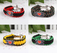 Wholesale Outdoor Bracelet Survival Escape Life saving Bracelet Paracord Hand Made Steel Buckle Adjustable Bracelet Mix Color