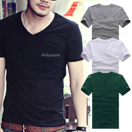 Wholesale Mens V Neck Short Sleeve Casual Slim Fit Ribbed Tee T Shirt Tops
