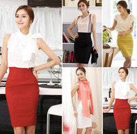 Wholesale Summer Korean Fashion High cut Tight Women Skirt Hip Wrap A line Dress OL Dress Solid Color Size Mixed Batch