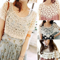 Wholesale Womens Vintage Lace Hollow Out Crochet Knitted Cape Shawl Tank Top blouses Jumper ax106