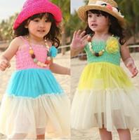 TuTu   5pcs Children girl's Summer kid's skirt child medium-long beach full dress color block decoration qz56 suspender skirt