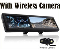 benz wireless camera - 4 Inch Bluetooth Rearview Mirror GPS Navigator With Wireless Camera Free Maps DHL FREE AB3233