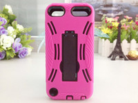 Wholesale Robot Back Stand Case Cover Hard PC Full Cover Case for iPod Touch colors
