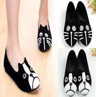 Wholesale Fashion Cute Cat Dog Face Womens Low Heel Comfort Flats Shoes Loafers