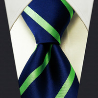 Wholesale Z6 Stripes Dark Blue Navy Green Mens New Necktie Ties Silk Jacquard Woven