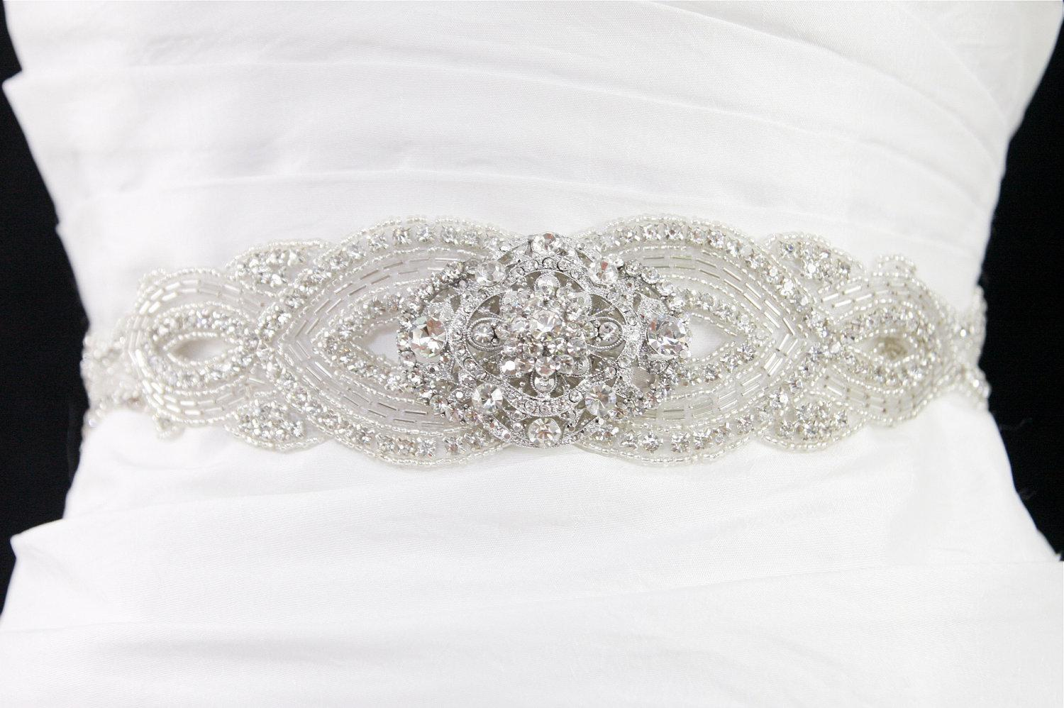 Modest Clear Crystal Beaded Classic Wedding Dress Sashes