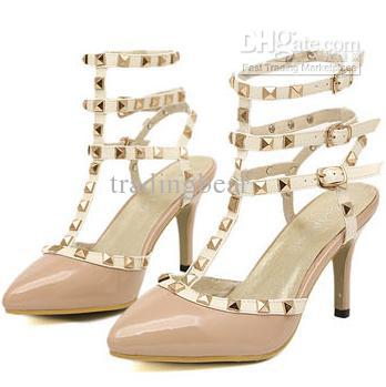 Ladies Sexy Beige Rivets Gladiator Sandal T Strappy Pointed Toe ...
