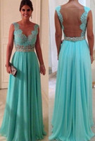 Wholesale Hot Sale Sheath Sweetheart Floor Length Beadings Nude Back Blue Lace Chiffon Sexy Long Evening Dresses Formal Dresses Olesa WD0224