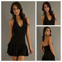 A-Line Chiffon Sexy New Arrival Sexy V-neckline Chiffon Black Dress Designer Short Dress Backless 2013 Fashion Hot Homecoming Dresses Custom Made
