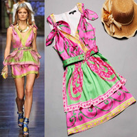 Wholesale Summer Charming Printed Deep V neck Sexy Dress p154
