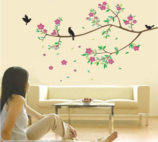 Wholesale Removable Birds And Tree Branch Wall Art Stickers Living Room  Blooming Flowers Wall Decals 60x90cm Birds Wall Decor Birds Wall Art  Stickers ... Part 37