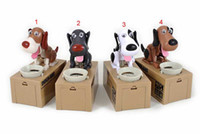 Wholesale 4colors Dog saving money box coin bank eat money dog Eating Dog Kids Coin Bank Saving Box New Choken Puppy