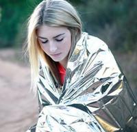 Blanket  emergency survival blanket - Waterproof Emergency Survival Foil Thermal First Aid Rescue Blanket Tent Silver
