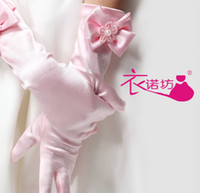 girl white gloves - Girls Bontique Wedding Dresses Golves Apparel Accessories Golves Bowknot Pearl Elbow Length Good Quality Gloves Pink White Beige