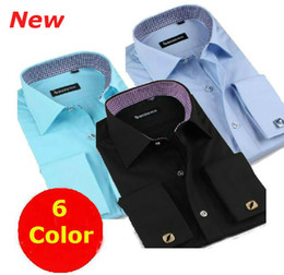 Wholesale 2014 New Men Formal dress long sleeves shirt Cufflinks camisa shirts FS19 XS S M L XL XXL XXXL