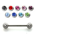 Wholesale 14 Gauge Body Jewelry Barbell With Sidemount Double Gem nipple ring mm Mixed Colors