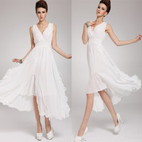 Wholesale Hot Fashion ladies maxi dress Bohemian women s chiffon party dress summer sleeveless V neck dress western women dress clothes white dress