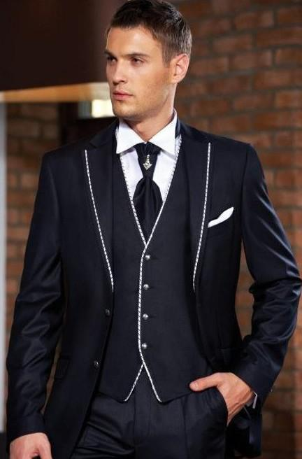 Navy Blue Groom Tuxedos Man Suits Groomsmen Men Wedding Suits Prom ...