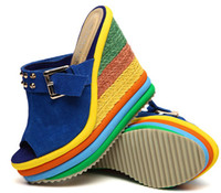 Wholesale 2013 summer sandals wedges rainbow women s shoes Stripe High heeled fish mouth Sponge cake shoe Thick bottom Waterproof sandals candy colors