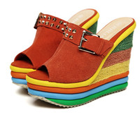 2013 summer sandals wedges rainbow women's shoes Stripe High...