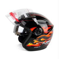 Wholesale dual lens half face helmet Battery car helmets black red flame bimirror summer YOHE knight Racing All lining unpick and wash