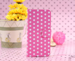 Wholesale Polka Dots Spots Flap Leather Case Back Cover Holder Stand For Apple iPod Touch th