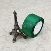 Wholesale yards quot mm single face Dark Green Satin Ribbon wedding decoration crafts materials yards roll Spool Ribbon MOQ Y