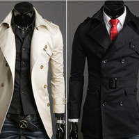 Wholesale 2013 New Mens Man Stylish Double Breasted Pea Long Trench Coat Windbreak Topcoat Outerwear Fashion Overcoat M L XL XXL Black Beige Colors