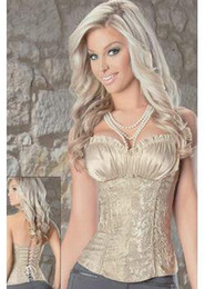 Free shipping Fashion Elegant Womens Corsets Royal Vest Bustier Cream Ivory Color Pattern Body Shaping Lace Up Corset Top