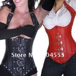 Faux Leather Under Bust Corset -Black Red - Bondage Fetish Goth Club Rave party dress Beautiful palace style corset
